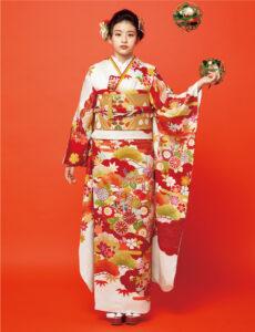 色とりどりの菊や楓が松竹梅の意匠に映え、雲取りなど多彩な吉祥文様が豪華さを引き立てます。手書き友禅ならではの華麗さで、エレガンスな装い。