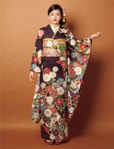 しなやかで強い竹を編んだ竹垣文様の光が海老茶に映え、スタイリッシュな印象。小槌などの宝尽くしや枝垂れ桜も幸せな日々を予感させます。