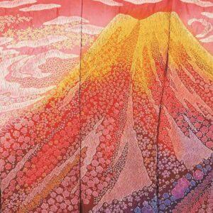 高級 振袖 赤富士 辻が花 絞り 赤色