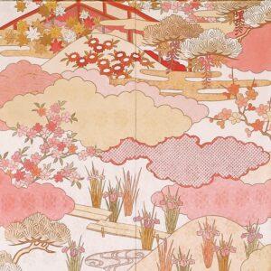 高級 振袖 白 ピンク 手描き 藤井寛